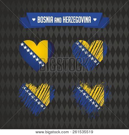 Bosnia And Herzegovina With Love. Design Vector Broken Heart With Flag Inside.