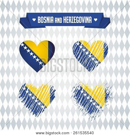 Bosnia And Herzegovina Collection Of Four Vector Hearts With Flag. Heart Silhouette