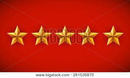 Five Golden Stars On Red Background. Rating, Rank Or Award Concept. Vector Illustration.