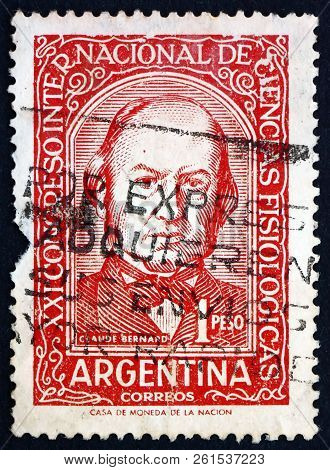 Argentina - Circa 1959: A Stamp Printed In Argentina Shows Claude Bernard, French Physiologist, Circ