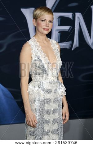 Michelle Williams at the Los Angeles premiere of 'Venom' held at the Regency Village Theatre in Westwood, USA on October 1, 2018.