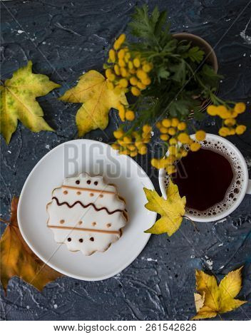 Autumn Background - Cup Of Coffee, Gingerbread And Dry Autumn Leaves On The White Background. Autumn