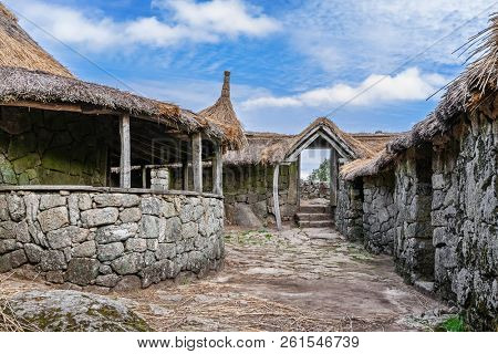 Pacos de Ferreira, Portugal - September 9, 2017: Interior of the reconstructed family nucleus building in Citania de Sanfins, a Celtic-Iberian prehistoric fortified Castro hillfort settlement
