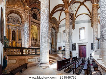 Santarem, Portugal - September 09, 2017: Altar and Nave with Tuscan columns of the Igreja da Misericordia church. 16th century Hall-Church in late Renaissance Architecture