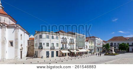 Santarem, Portugal - September 10, 2017: Panorama of the Praca S a da Bandeira Square, the main square of the city.