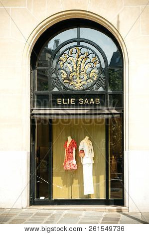 Paris, France - May 21, 2016: Ellie Saab Haute Couture Luxury Fashion Store Facade In Central Paris