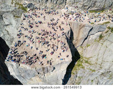 Preikestolen Or Prekestolen Or Pulpit Rock Aerial Panoramic View, Norway. Preikestolen Is A Steep Cl