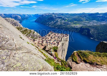 Preikestolen Or Prekestolen Or Pulpit Rock Is A Famous Tourist Attraction Near Stavanger, Norway. Pr