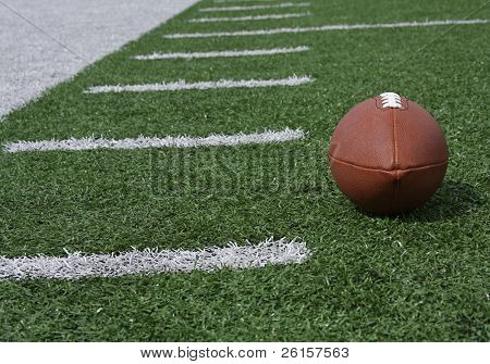 Football on the field hashmarks