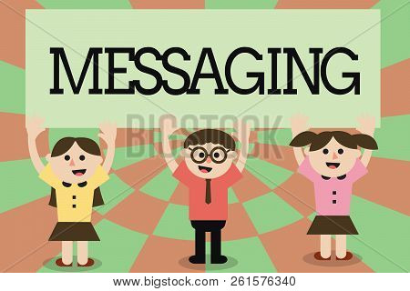 Writing Note Showing Messaging. Business Photo Showcasing Communication With Others Through Messages