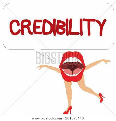 Word writing text Credibility. Business concept for Quality of being convincing trusted credible and believed in poster