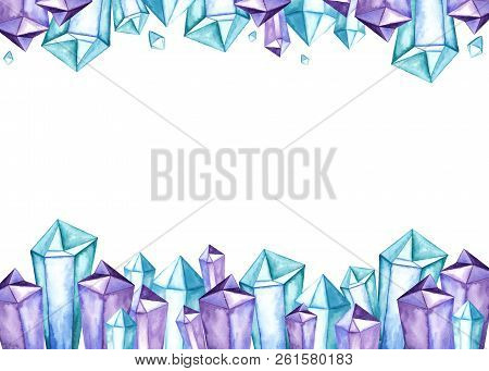Clear Purple Blue Space Universe Color Amethyst Quartz Crystal Cluster Gems Family Frame Watercolor