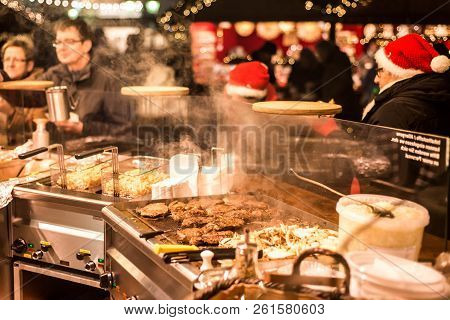 Koblenz Germany 16.12.2017 Imbiss Selling Food Meat And Sausages Traditional Christmas Market By Nig