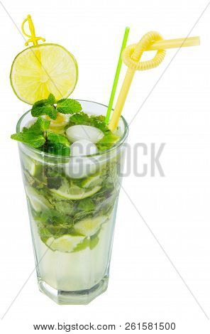 Non Alcohol Mojito With Ice, Mint And Lime In A Tall Glass. Isolated On A White Background