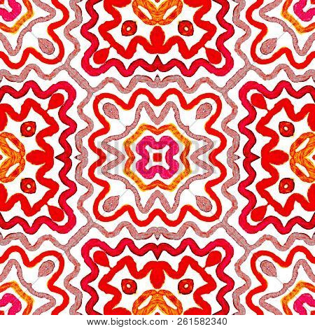 Wine Red Geometric Watercolor. Amazing Seamless Pattern. Hand Drawn Stripes. Brush Texture. Valuable