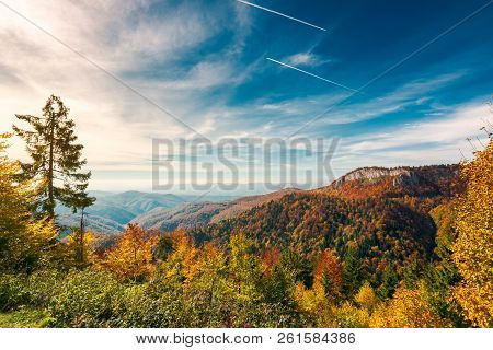 Gorgeous Autumn Landscape In Mountains Of Romania. Cliff Above The Forest In Fall Color. Beautiful V