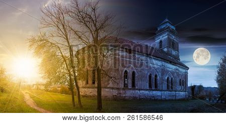 Time Change Concept With Sun And Moon. Panorama Of Abandoned Catholic Church On Hill