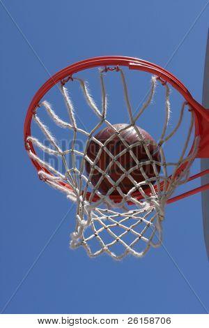 Basketball in the hoop