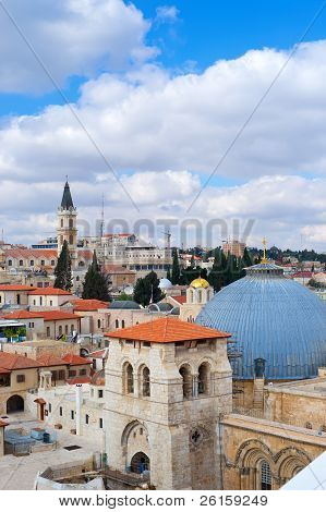 Jerusalem, view to Church Of The Holy Sepulchre