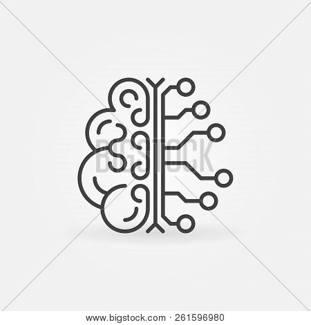 Ai Brain Simple Vector Outline Icon. Artificial Intelligence Concept Linear Symbol Or Design Element