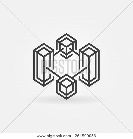 Block Chain Crypto Technology Vector Line Concept Icon Or Design Element