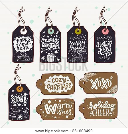 Big Set Of Hand Drawn Sketched Christmas Gift Tags With Hand Lettering. Holiday Phrases Drawn With H