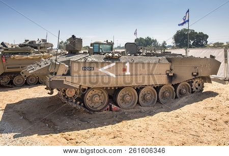 Holon, Israel - September 28, 2018: The Puma Heavily Armored Combat Engineering Vehicle And Armored