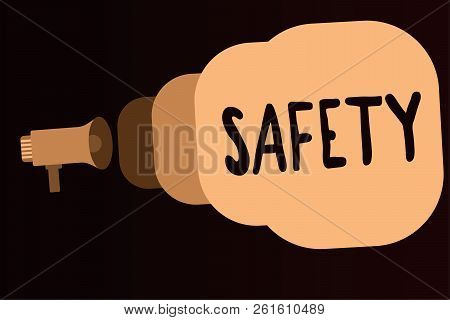 Handwriting Text Safety. Concept Meaning Condition Of Being Protected From Unlikely To Cause Danger
