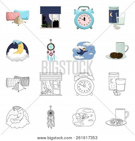 Isolated Object Of Dreams And Night Sign. Collection Of Dreams And Bedroom Stock Vector Illustration