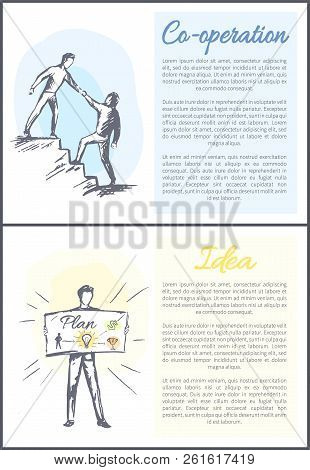 Co-operation And Idea Set Of Posters Collection With Text Sample Vector Sketches With Men Helping To