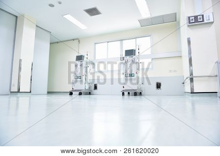 Dialysis Machines In Empty Hospital  In Asia