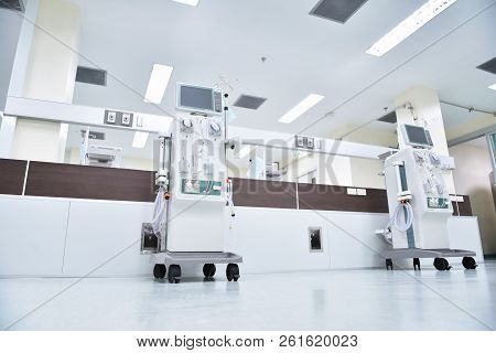 Dialysis Machines In Empty Hospital Room In Asia