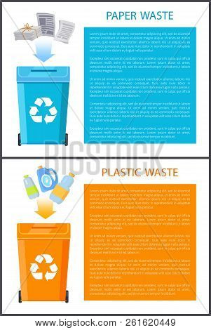 Paper And Plastic Waste Posters Collection, Bins With Wastepaper, Bottles Being Thrown, Colorful Box