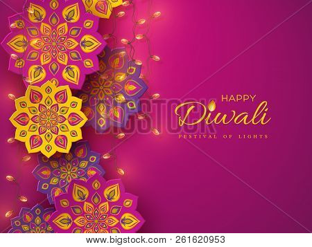 Diwali Festival Holiday Design With Paper Cut Style Of Indian Rangoli And Garlands. Purple Color Bac