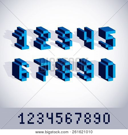 Vector Modern Tech Whole Numbers Set. Geometric Pixilated Digits, 3d Dotted 8 Bit Numeration From 0