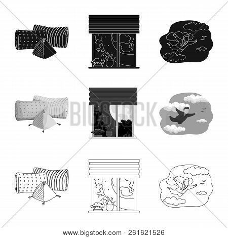 Vector Design Of Dreams And Night Sign. Collection Of Dreams And Bedroom Stock Symbol For Web.