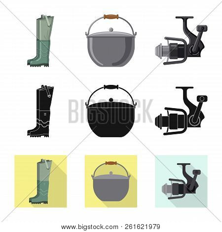 Vector Design Of Fish And Fishing Symbol. Collection Of Fish And Equipment Stock Vector Illustration