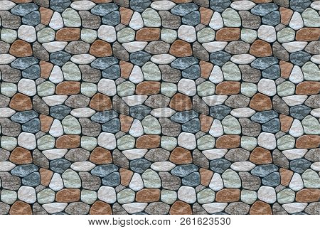 Seamless Texture Of Rounded Multi-colored Marble Stones.