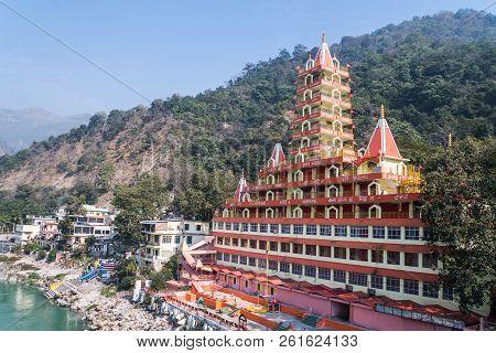 Rishikesh India. January 10, 2018. Beautiful View Of Tera Manzil Temple, Trayambakeshwar In Rishikes