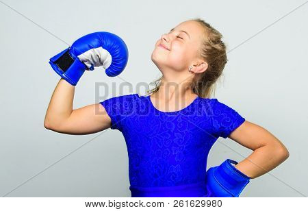 Upbringing For Leadership And Winner. Feminist Movement. Strong Child Proud Winner Boxing Competitio