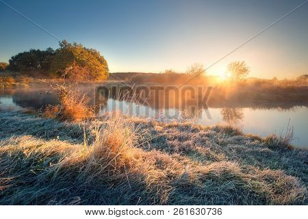 Autumn Landscape. Autumn Nature. Sunny Frosty Autumn Morning. Grass With Frost At The Riverside. Mis