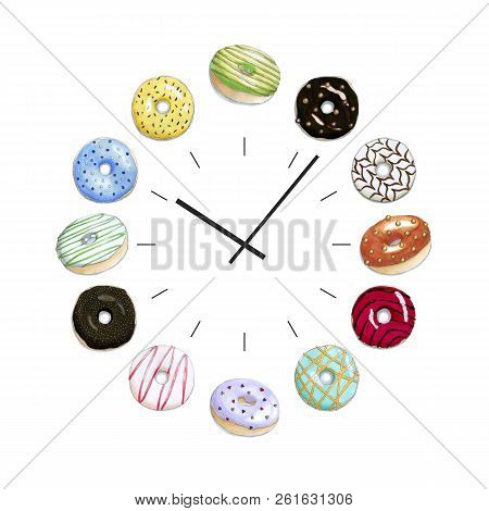 Hand Drawn Illustration Of A Clock Face With A Colorful Set Of Donuts. Isolated Objects On A White B