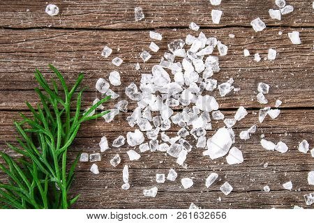 Crystals Of Large Sea Salt And Dill On A Wooden Table.