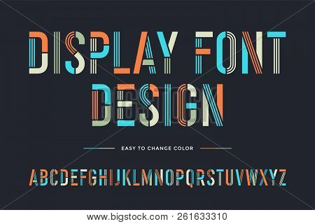 Stencil Line Font. Colorful Condensed Alphabet And Font