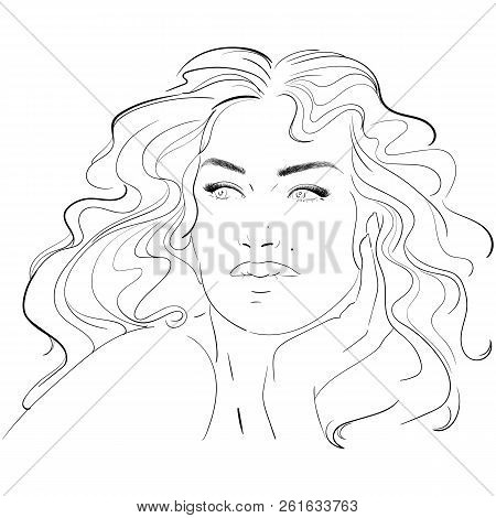 Fashion And Beauty Face. Hand Draw Fashion Illustration Of Long Volume For Wedding Or Party. Long Ha