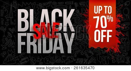 Black Friday Sale On Black Background With Doodle Shopping Symbols, Linear Icons Elements. Vector Il