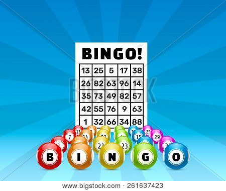 Lottery Bingo Game, Balls With Numbers And A Lottery Ticket, On A Colored Background. Vectors Illust