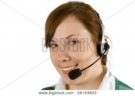 callcentre female, girl with headset on, smiling, isolated on white background, head shot, face close-up