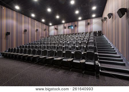 Moscow - July 24, 2014: Panoramic View Of An Empty Cinema Hall. Inside The Dark Comfortable Theatre.