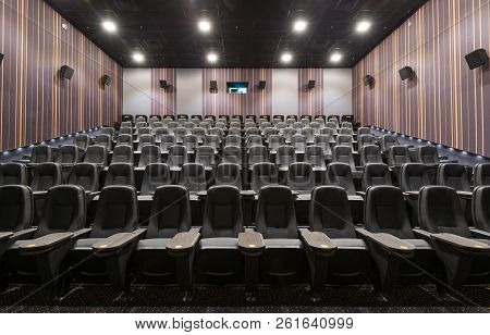 Moscow - July 24, 2014: Front Panoramic View Of Seats In Empty Cinema Hall. Contemporary Cinema Audi